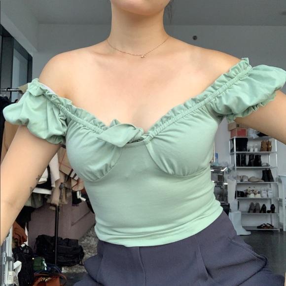 Off the shoulder pastel green short sleeve